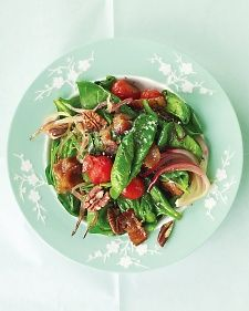 Warm Spinach Salad with Bacon, Tomatoes, and Pecans