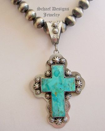 Schaef Designs Southwestern turquoise & sterling silver cross pendant |  New Mexico