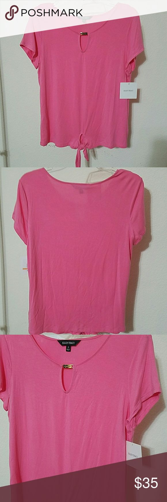 """Ellen Tracy Top Beautiful brand new with tag Ellen Tracy top. Really soft and comfortable. 96% viscose 4% elastane. No stains or damages. Azalea color. Approx L of top 23 1/2"""". Armpit to armpit approx without stretching 19 1/2"""". Ellen Tracy Tops"""