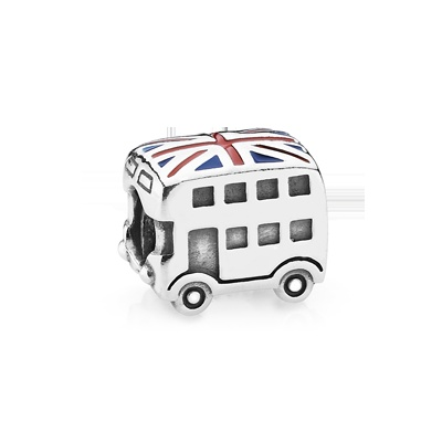 Perfect way to celebrate the 2012 London Olympics!     Union jack bus silver charm with enamel - 791049ER - Charms | PANDORA