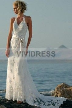 A-line V-neck Sweep/Brush Train Lace Fabric Beach Wedding Dresses with Bowknot Style 5427135。http://www.vividress.co.uk/beach-wedding-dresses-style-5427135.html