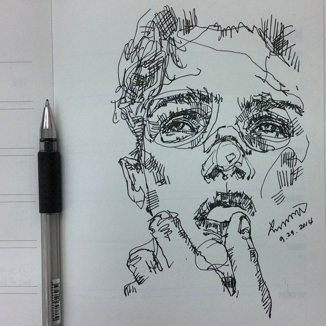 pen sketch, portrait illustration, loose inking