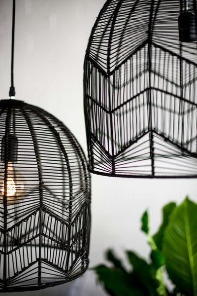 These gorgeous hand made rattan lights come in a bell-shape design and woven zig zag detailing. Each light comes with wiring and is available in two different sizes.Aproximate measurements:Small - 35cm in height by 35cm in diameter (OUT OF STOCK)Large - 45cm in height by 45cm in diameter