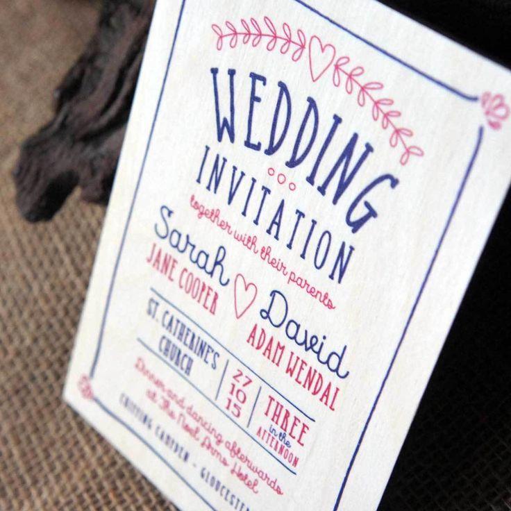 Camdeco   Wooden Printed Wedding Invitation   Laurel Heart, £3.95 (http:/