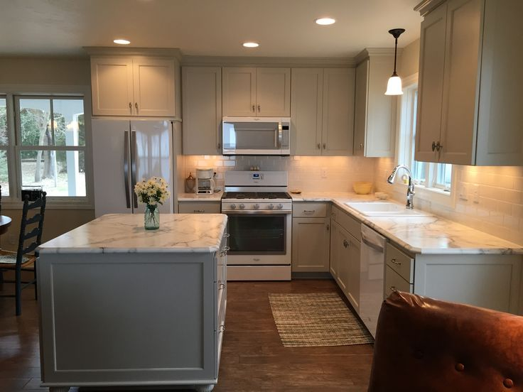 FX180 laminate Calcutta Marble with ideal edge. Gray kitchen cabinets Revere Pewter Benjamin Moore.