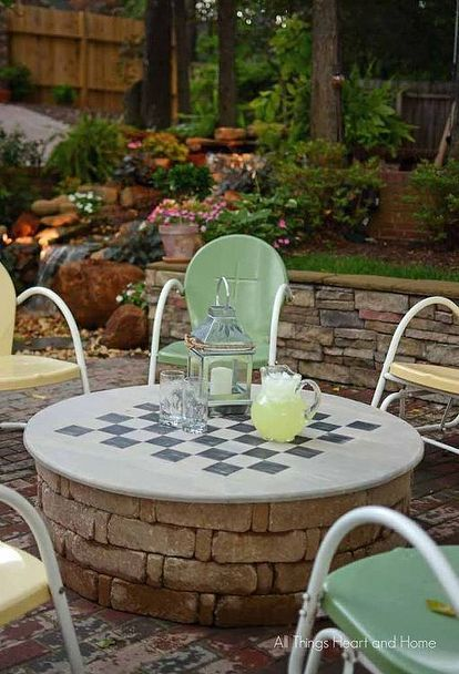 backyard ideas fire pit cover table gameboard, diy, outdoor living, painted furniture, woodworking projects