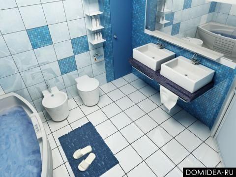 фото интерьера : ванные комнаты : ванная в сине-белом