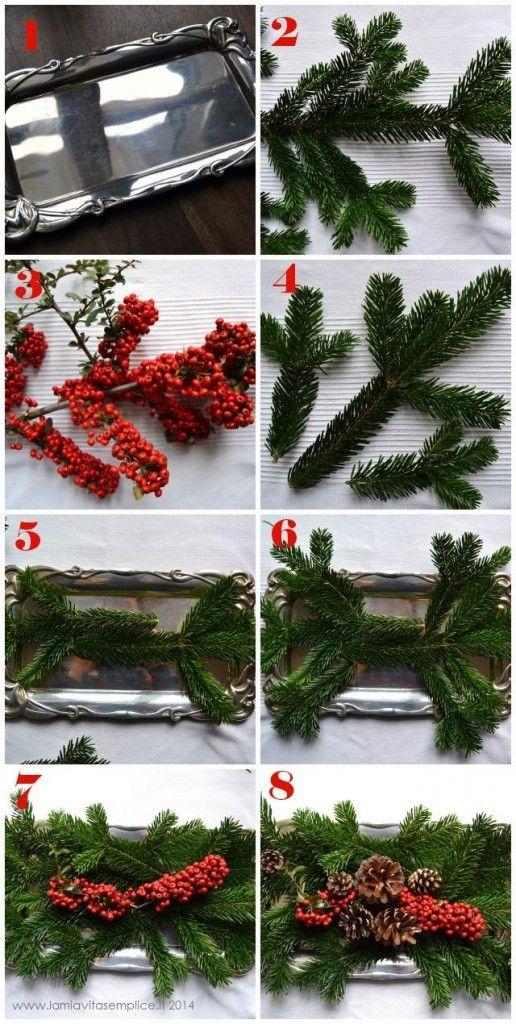 Come fare un centrotavola per la tavola di Natale. Easy DIY Christmas centerpiece.