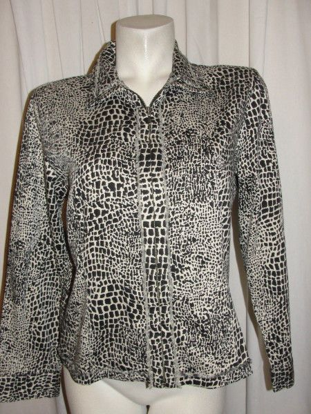 CHICOS Dark Brown Beige Stertch Animal Print Zip Up Jacket L Sleeve Sz M (1) #Chicos #BasicJacket #CasualCareerWeartowork