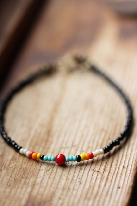 Simple Red Coral and Seed Bead Bracelet // by bytherockandweed, $16.00