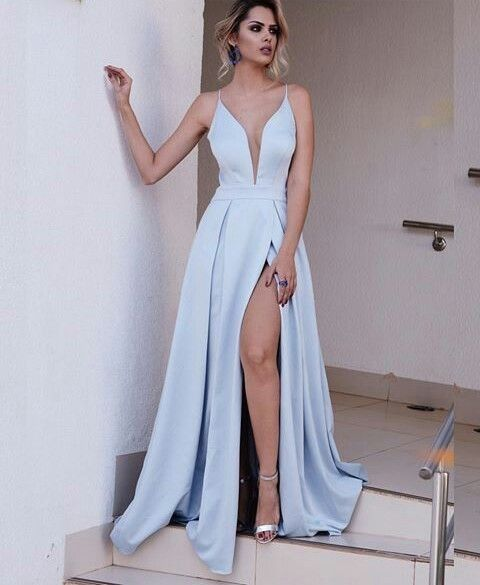 Sexy Spaghetti Straps Open Back Slit Ice Blue Prom Dress