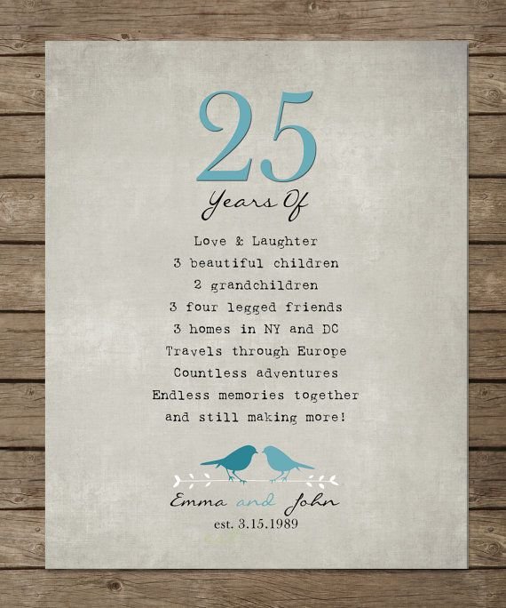 25th Wedding Anniversary Gift List : 25th Silver Wedding Anniversary Gift for parents, Anniversary gift ...