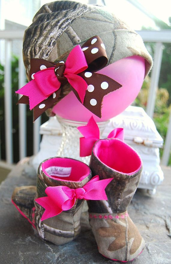 "Realtree Camo Girls Baby Boots/Shoes with faux leather sole ""Cute Photo Prop"" DRESS UP Hot pink. Duck Dynasty inspired. Redneck baby shower.   #realtreecamo #camobabshower"