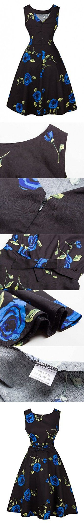 Angerella Womens Floral Retro Dresses Elegant Black Cocktail Dresses For Junior
