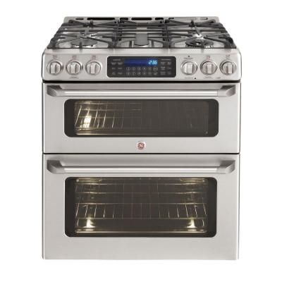 Double Oven Gas Range.  Duel fuel? Slide in a MUST - can't  inhibit pans on the back burners. Is the draft thingy at the back? Don't like that!