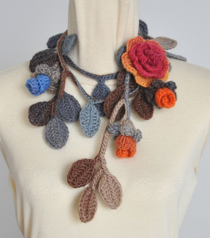 Rose Life - Brown - Crochet Multicolor Rose and Leaf Lariat/Scarf by jennysunny on Etsy
