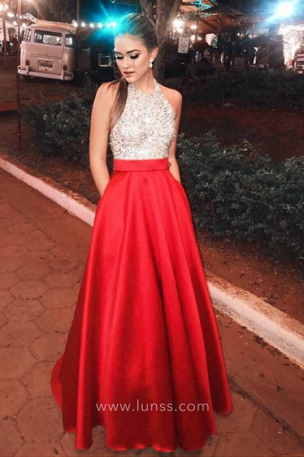 fce517a2b63 Sparkly beading bodice with red satin A-line long prom dress with pockets.  Sleeveless