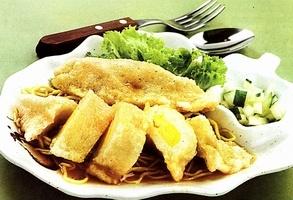 Pempek. Savory fishcake with vinegar sauce. Indonesia.