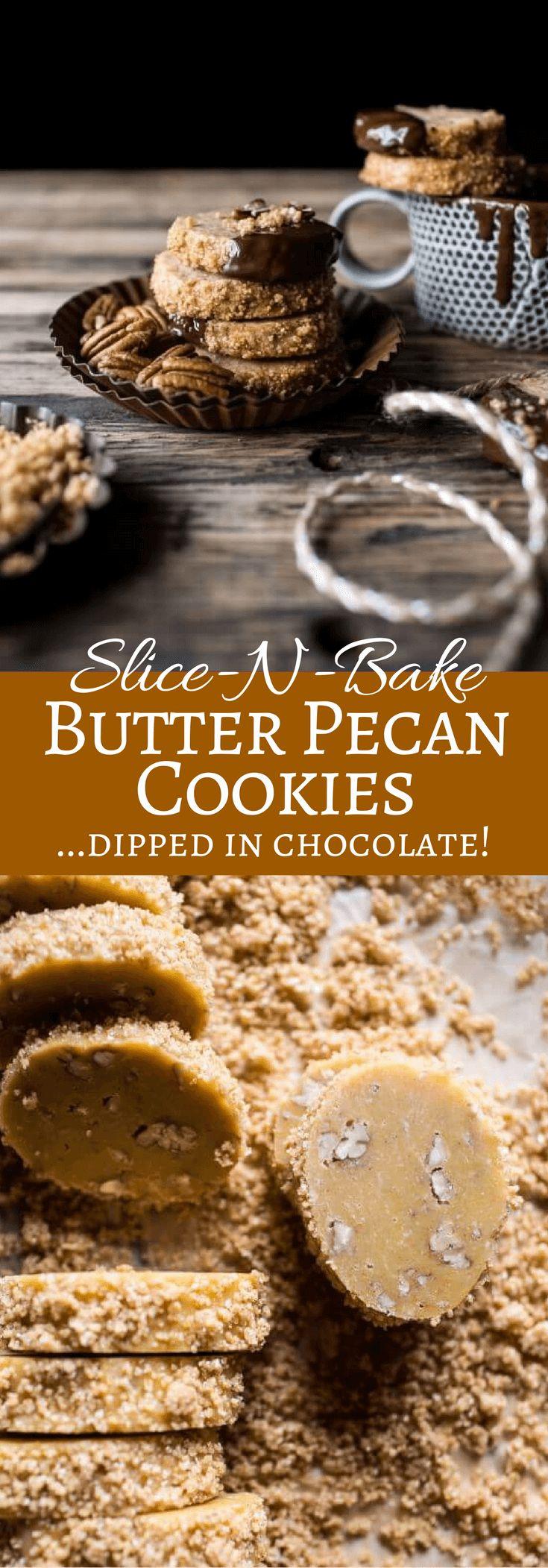 Slice-N-Bake Butter Pecan Cookies... Dipped in Chocolate! | halfbakedharvest.com @hbharvest