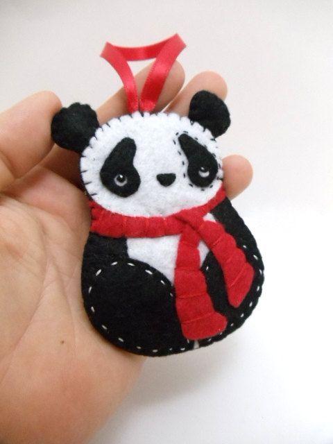 Felt Panda Bear Ornament