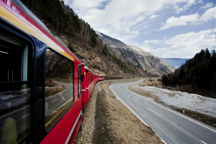 The Bernina Express en route. Be surprised, get off the beaten path with MilanoArte.