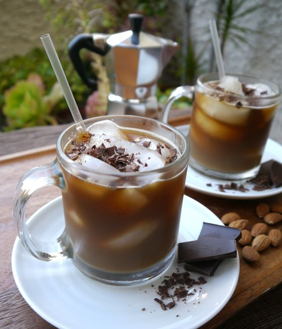 Jocelyn's Afternoon Chocolate Coffee Cocktail 1.5 ounces Patrón XO Cafe Dark Cocoa 1 ounce almond milk 4 ounces coffee (cooled) Chocolate shavings
