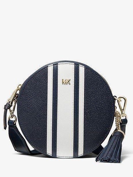 beefa28adc166b Michael Kors Logo Tape Pebbled Leather Canteen Crossbody, Blue Crossbody  Leather Canteen Bag, #summerfashion #fashion #summer #style #summervibes  #beach ...