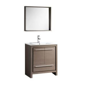 Fresca Allier 30 in. Vanity in Gray Oak with Ceramic Vanity Top in White and Mirror-FVN8130GO at The Home Depot