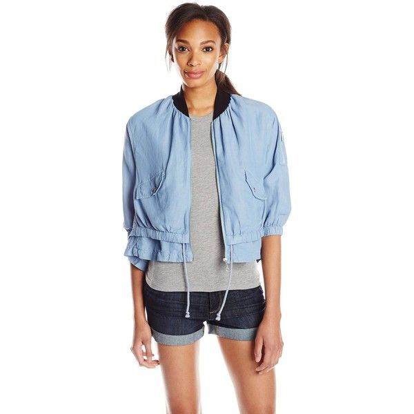 Rebecca Minkoff Women's Saxby Garment Dye Bomber Jacket ($66) ❤ liked on Polyvore featuring outerwear, jackets, flight jacket, rebecca minkoff jacket, blouson jacket, bomber jacket and blue bomber jacket