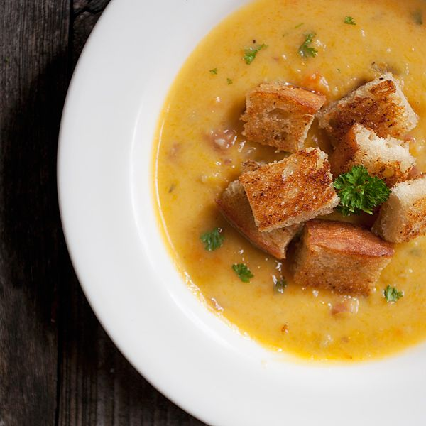 Roasted Butternut Chowder with Bacon Croutons - (1 kg) butternut ...