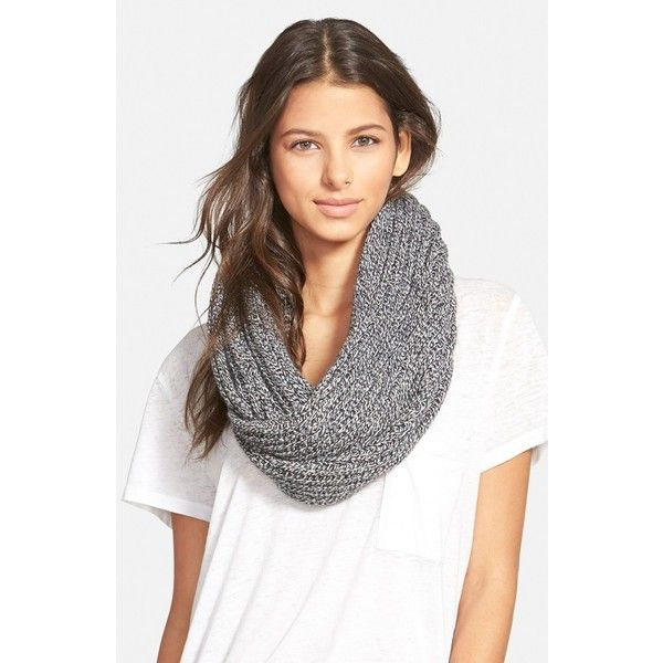Madewell 'Softest' Knit Infinity Scarf ($60) ❤ liked on Polyvore featuring accessories, scarves, marled pepper, infinity scarves, knit shawl, tube scarf, circle scarf and knit tube scarf