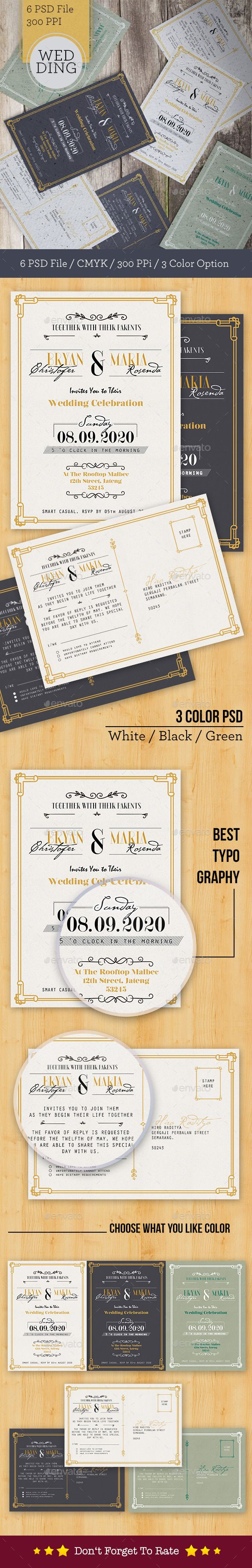 Modern Wedding Card Template #print #design Download: http://graphicriver.net/item/modern-wedding-card/12024941?ref=ksioks