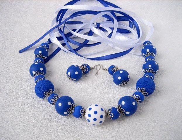 White blue Romantic Polka Dots Beaded Necklace Earrings Elegant Women Polka Dots Jewelry Polymer clay jewelry Statement Necklace Earring Set by MosaicArtJewelery on Etsy