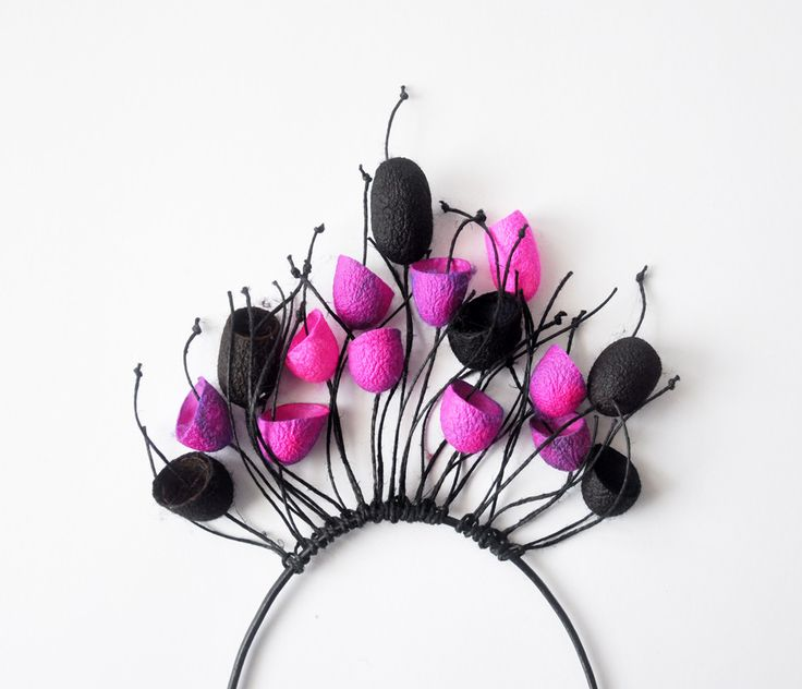 Wisior z jedwabnych kokonów - różowo-czarny - MalowanyJedwab - Kominy wzorzyste