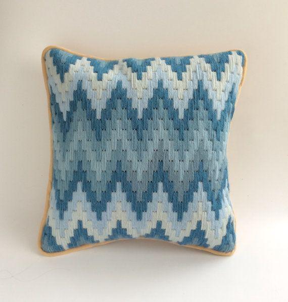 Blue Zigzag Bargello Wool Needlepoint Cushion