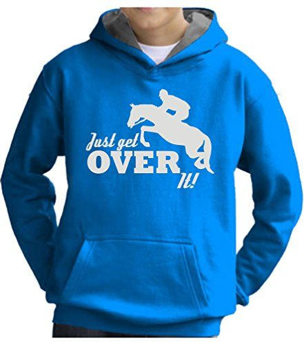 TWO TONE Heather Grey/Navy Hoodie 'JUST GET OVER IT' with Pearlescent Blue Print.