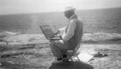 A.Y. Jackson sketching at Go Home Bay