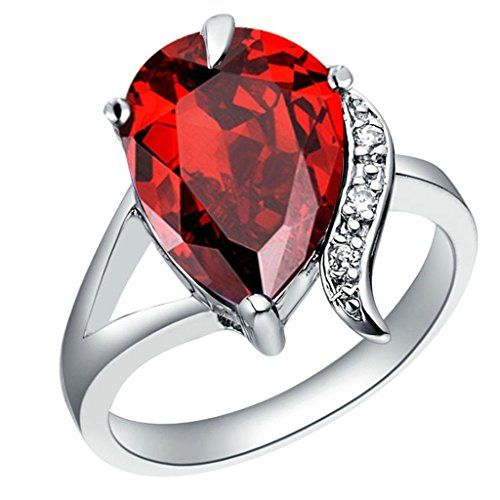 Aienid Schmuck Damen Ringe Eheringe mit Zirconia Vergoldet Hochzeitsringe Silber Roter Korund Größe 52 (16.6) - http://schmuckhaus.online/aienid/aienid-schmuck-damen-ringe-eheringe-mit-zirconia-3