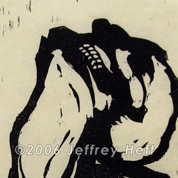Release Heft linocut relief print original art by HeftArt on Etsy, $60.00