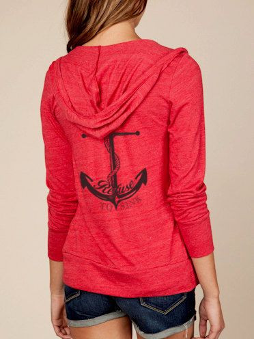 Refuse to Sink Anchor Hoodie Lightweight Sweatshirt by KindLabel, $40.00
