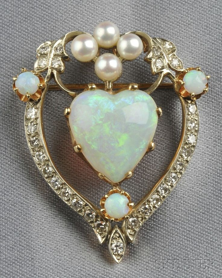 Opal, Cultured Pearl, and Diamond Pendant/Brooch, set with a heart-shaped opal measuring approx. 15.20 x 13.90 x 5.50 mm, single-cut diamond melee accents, pearl and opal highlights, silver-topped 14kt gold mount, lg. 1 1/2 in.