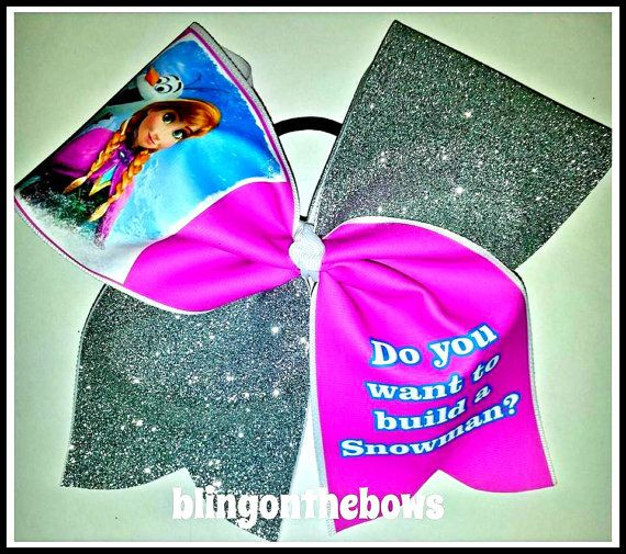 Do you want to build a snowman CHEER BOW FROZEN by blingonthebowz, $15.00