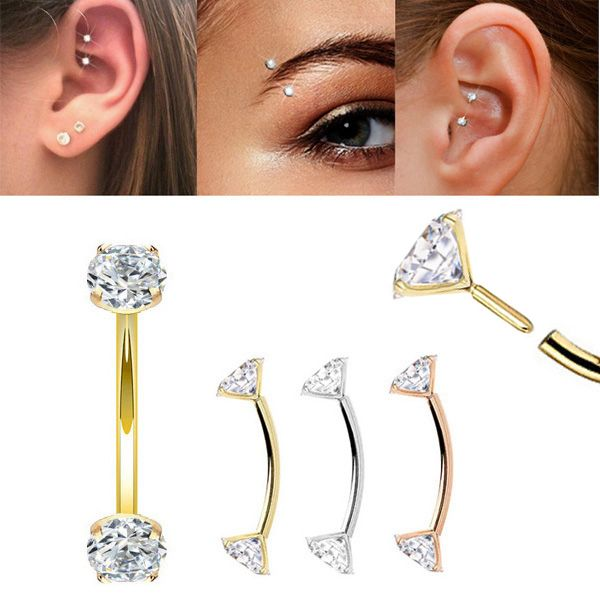 14K Gold Push-In Curved CZ Barbell for Rook, Eyebrow, Daith Piercing