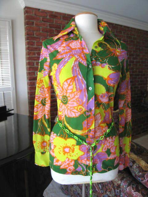 60er Jahre Flower Power Hemd / Bluse Mod Blume / von OGOvintage