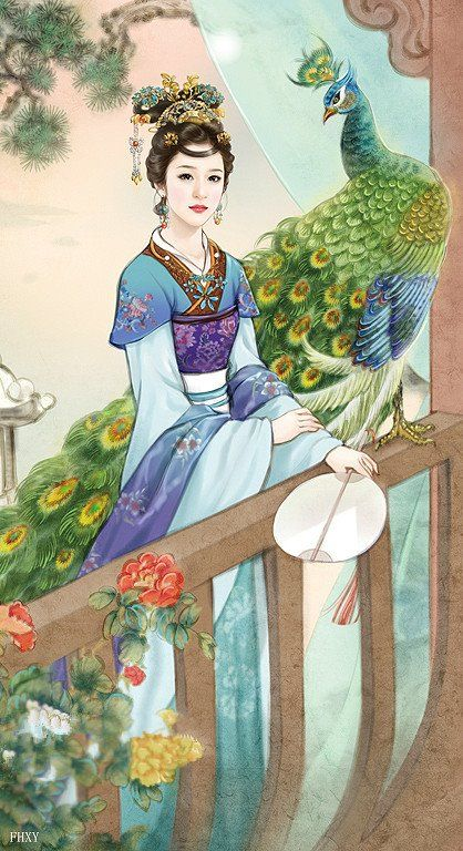 Lady in blue with peacock: