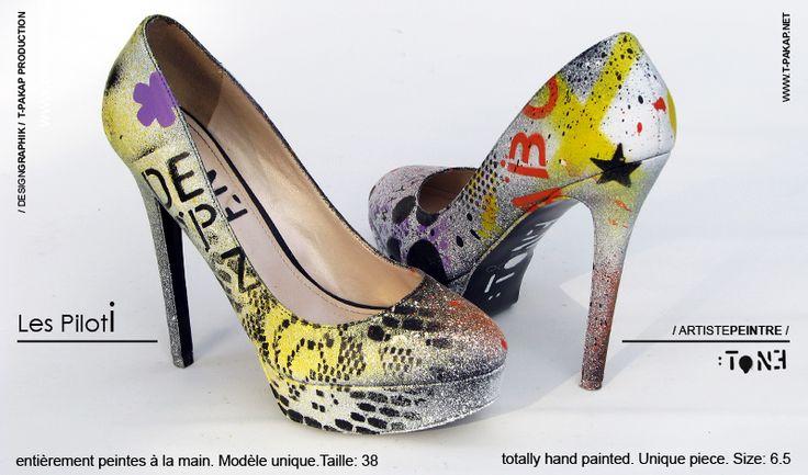 Les Piloti.  Création unique sur chaussures en cuir. Artiste-peintre Tone. / Unique creation on  leather shoes. Artist-painter: Tone. www.t-pakap.net