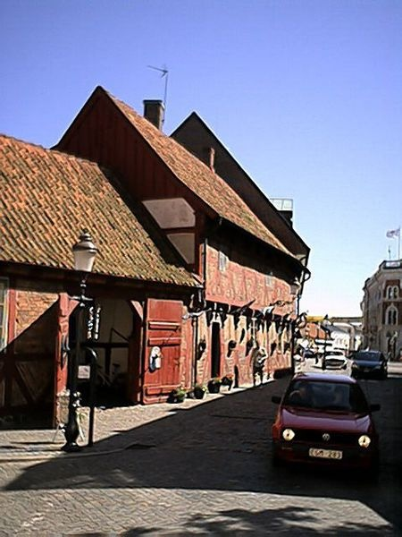 Ystad street, a small town with over 300 well-preserved wooden houses