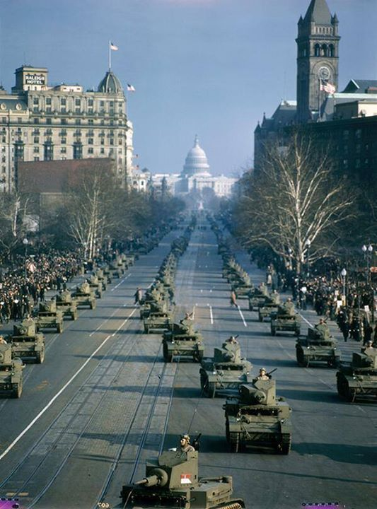 Capital Building Washington D.C. 1947.  Tank Parade (by By Volkmar K. Wentzel)