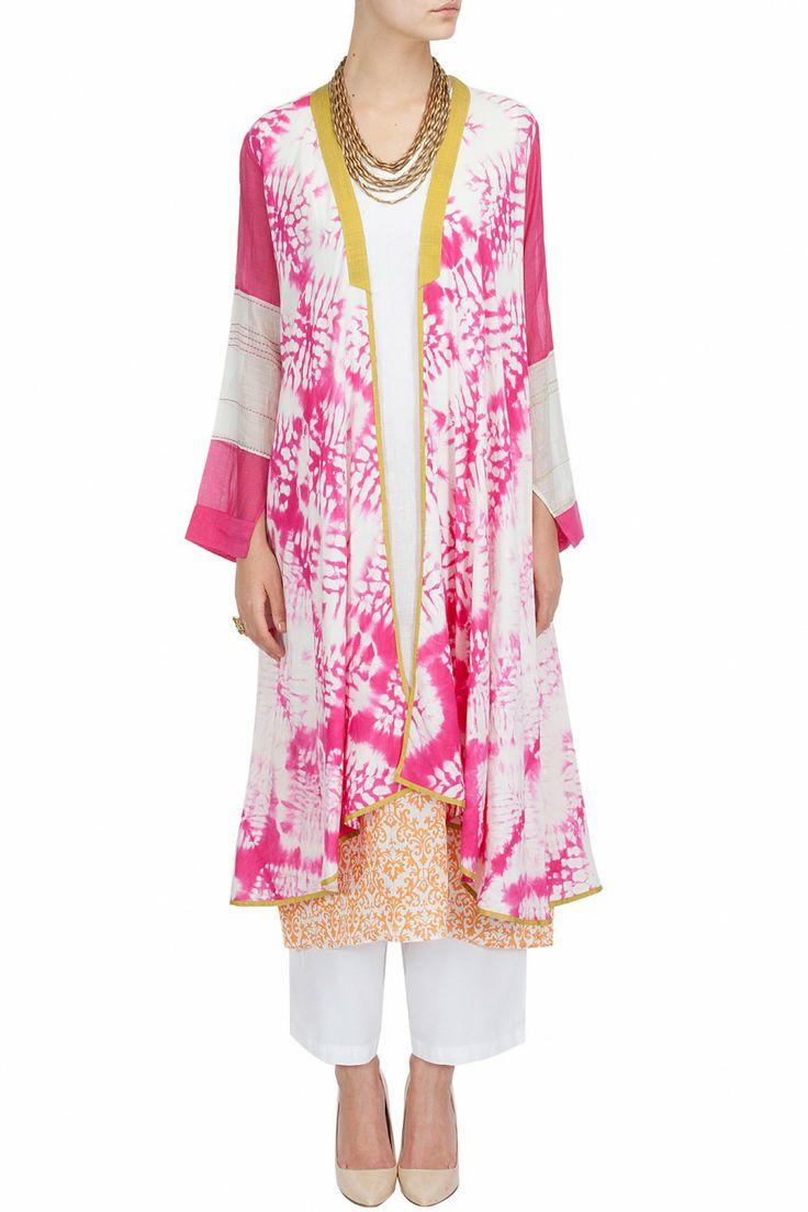 Long shibori textured jacket BY KRISHNA MEHTA.