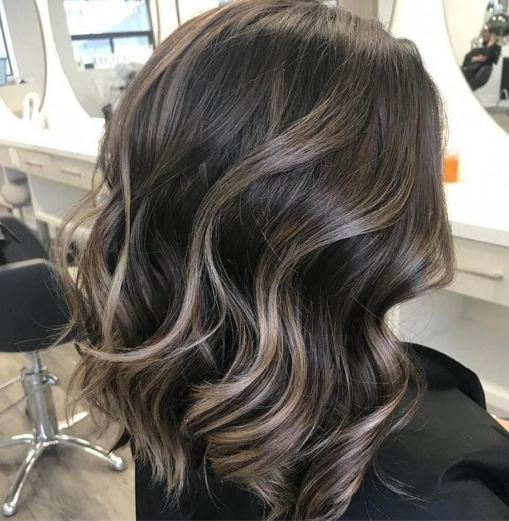 Brunette Hair with Subtle Ashy Highlights #shorthairbalayage